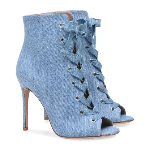 Black PU/black satin/blue denim peep toe lace-up high heel ankle boots for woman Open toe super high thin heel short boots black lace up pu obi belt