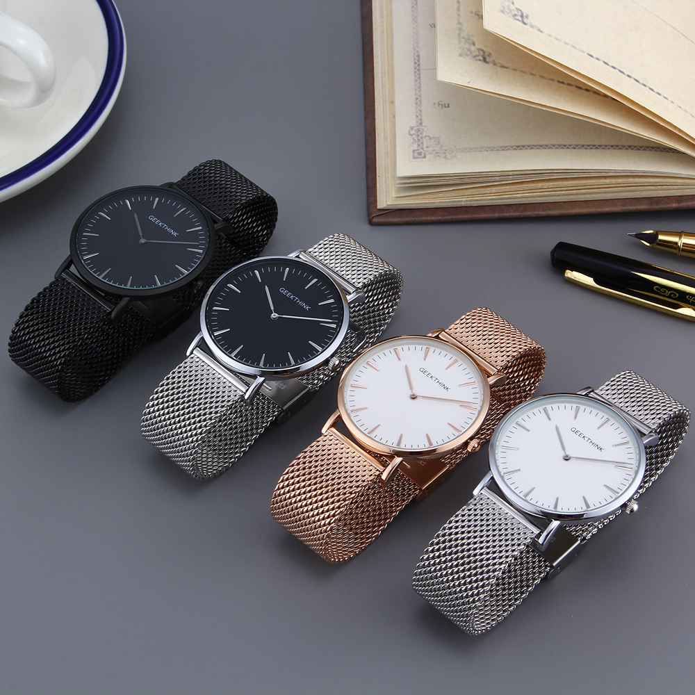 GEEKTHINK Ultra Thin Top Luxury Brand Quartz Watch Men Casual Japan Quartz-watch Stainless Steel Mesh Strap Clock Hodinky Male top luxury brand quartz watch women simple dress casual japan rose gold stainless steel mesh band ultra thin clock female unisex