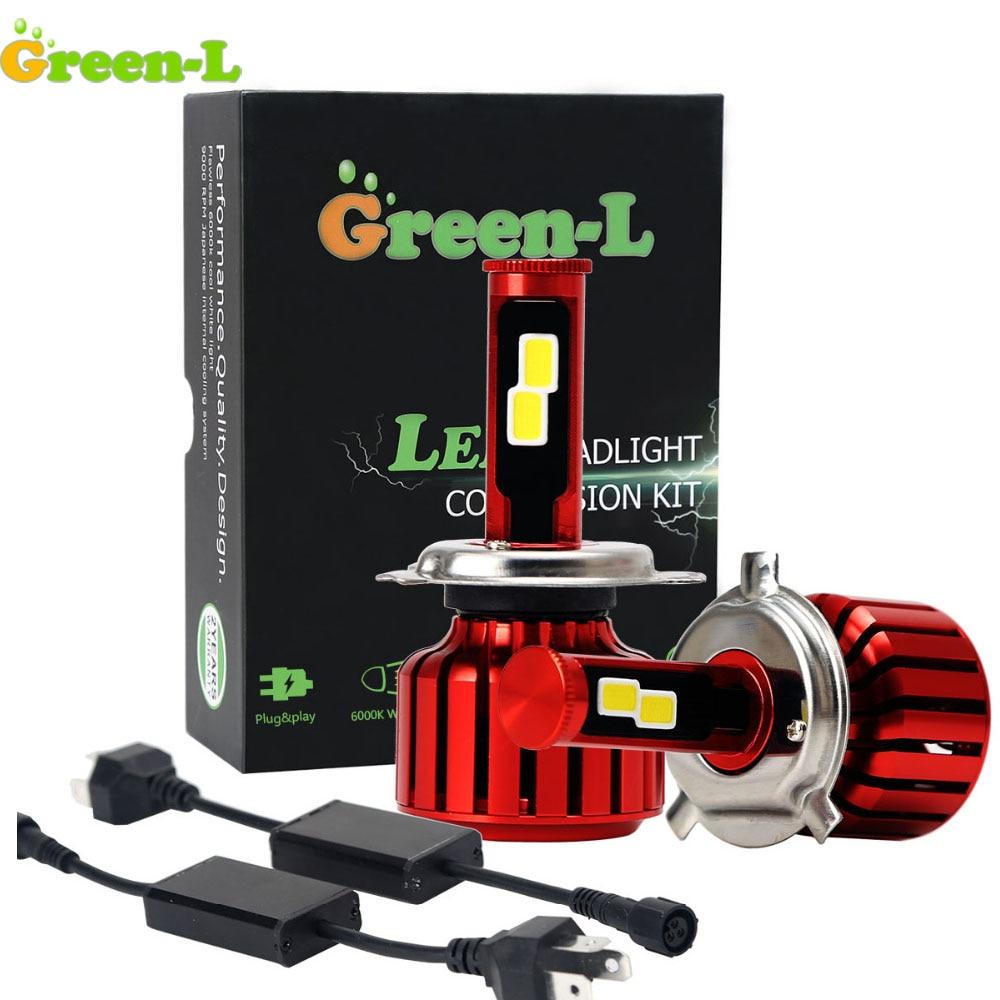 Зеленый-l 12 В H27 880 H3 H4 H7 H11 H13 9003 9004 9005 9006 9007 светодиодные лампы авто комплект фар автомобиля HB3 HB4 лампа 9000lm 6000 К свет