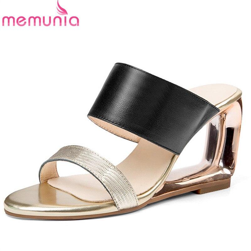 Ayakk.'ten Yüksek Topuklular'de MEMUNIA 2019 yeni moda stil kadın sandalet karışık renkler hakiki deri ayakkabı bayanlar üzerinde kayma benzersiz takozlar parti ayakkabıları kadın'da  Grup 1
