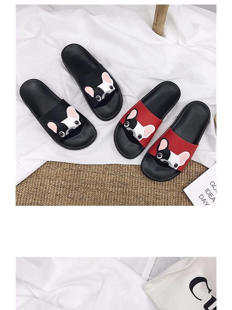 18 Fashion Animal Bulldog Slippers Summer Sandals Beach Flip Flops Skid Indoor Woman Shoes Women Slides zapatillas Mujer 4