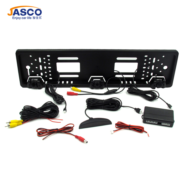 EU Car License Plate Frame Rear View Camera with 2 parking sensor radar Night Vision 170 Degree Viewing Angle for European Cars