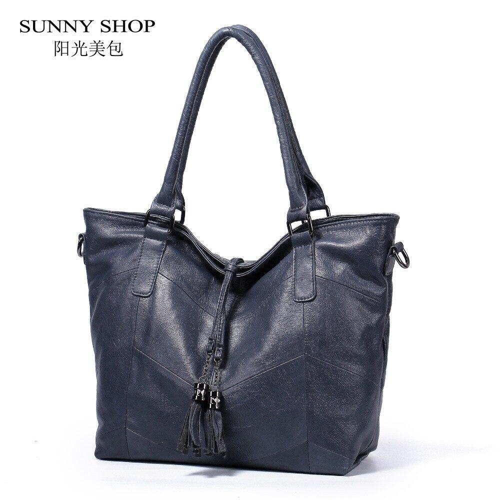 SUNNY SHOP Original Design 100% Soft Genuine Leather Women Shoulder Bags w/ Tassel Charm Elegant Office Top Handle Women Bag A4