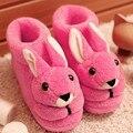 2016 de Invierno Zapatos de Interior Suaves Calientes Casa Terlik Piso Zapatillas Zapatos de Mujer antideslizante Divertidos Conejos de Dibujos Animados Zapatos de la Felpa más Tamaño