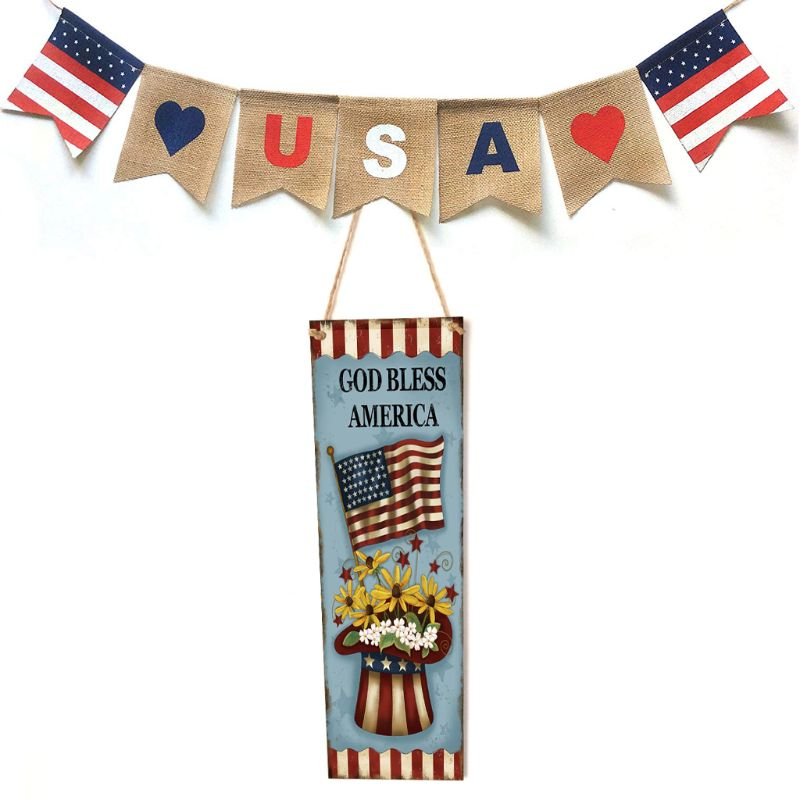 Rustic Wooden Happy God Bless America Flag Sign Plaque Independence Day Room Home Decoration Collection Gift-in Plaques & Signs from Home & Garden