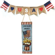 Rustic Wooden Happy God Bless America Flag Sign Plaque Independence Day Room Home Decoration Collection Gift