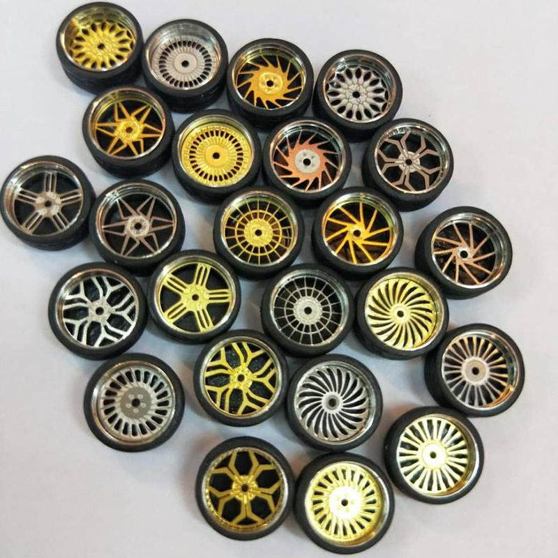 4Pcs/Lot 1:64 Model Modified Tire Diecasts Alloy Wheel Tire Rubber Toy Vehicles General Model Of Car Change Accessories