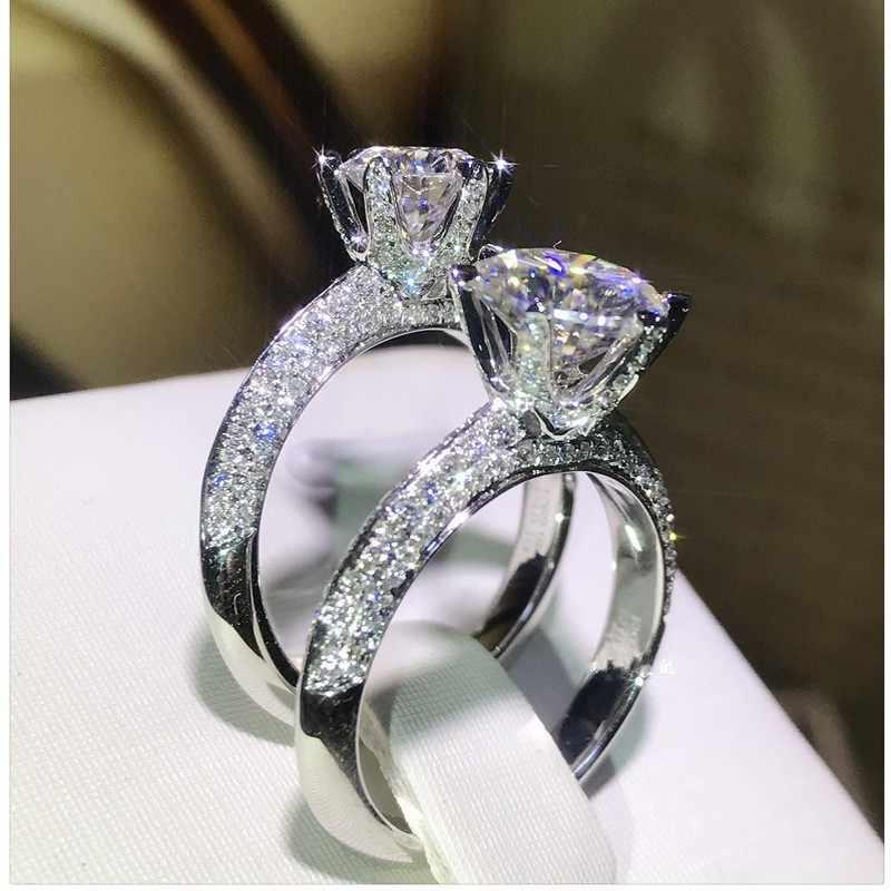 Choucong ручной работы 100% реальные 925 пробы Серебряное кольцо Круглый 0.8ct AAAAA Циркон обручение обручальное кольца для женщин мужчин Bijoux