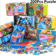 200Pcs Big Size Wooden Cartoon Kids Animal Fairy Tale Puzzle Iron Box Hold Jigsaw Puzzles Children Early Education Eood Toy