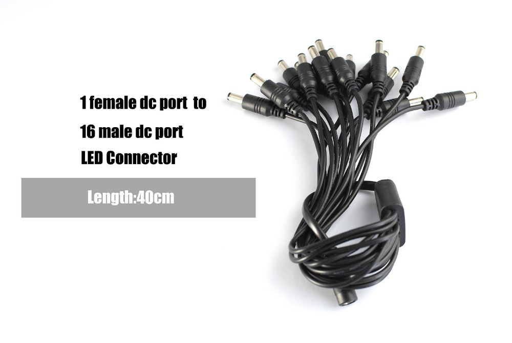BSOD DC Power Splitter Cable Adapter Connector 5.5x2.1mm Female 1 to 16 Male Plug Jack for LED Strip CCTV Camera