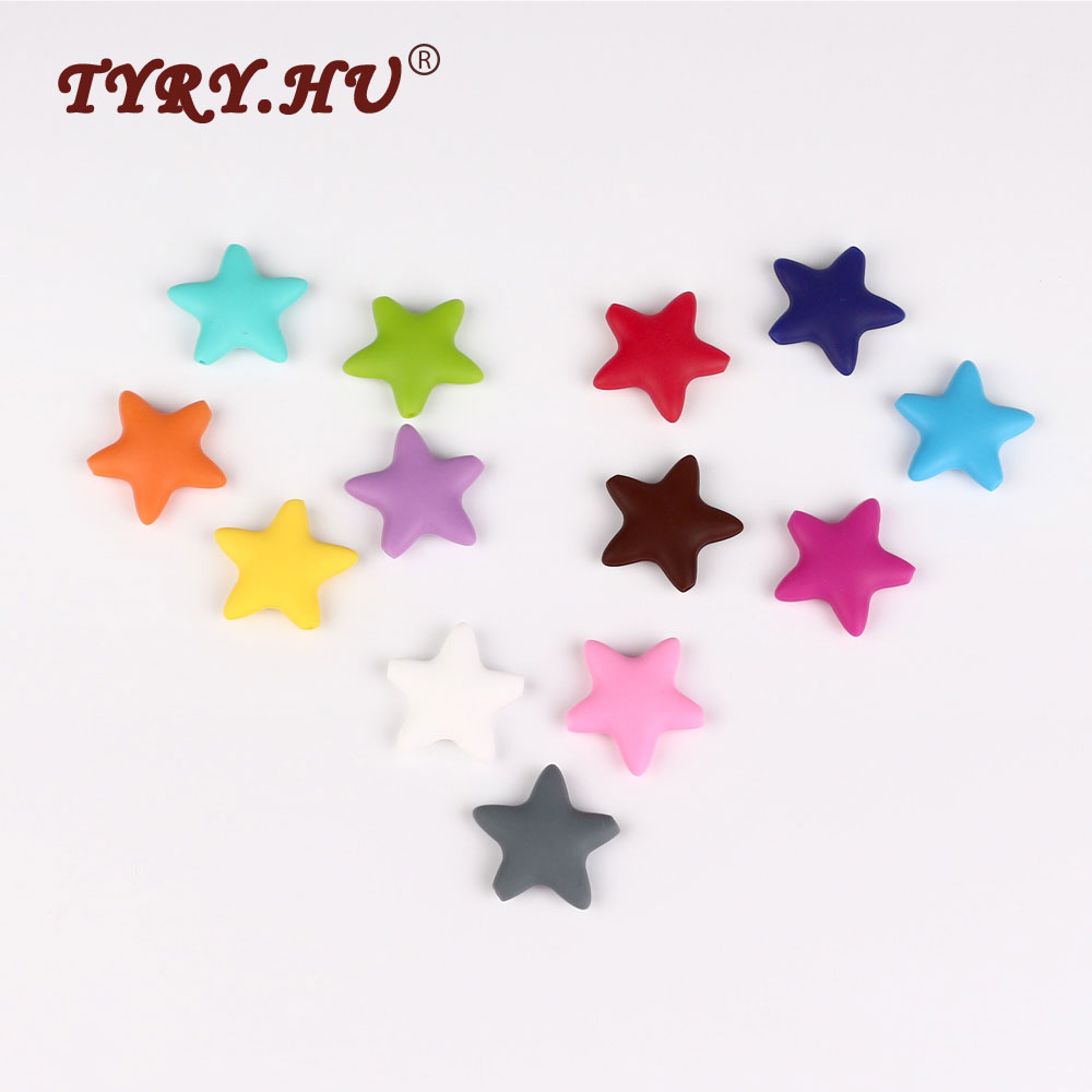 Tyry hu 25pcs star teether silicone beads baby teether shower teething toys bead 45mm diy chewing