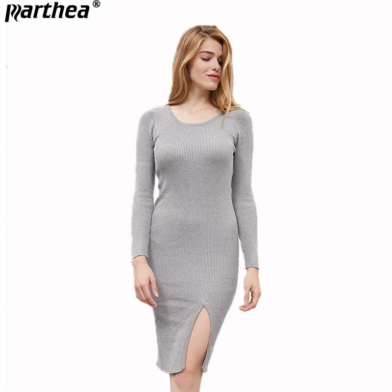 Parthea Knitted Midi Dress Retro Autumn Winter Long Pullover Knitwear Rompe Long sleeve Fashion O-neck Elegant Sweater Dress
