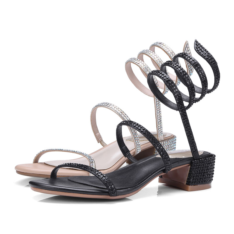 Aliexpress.com   Buy Fanyuan High end Women Leather Sandal Heels Fashion  Snake Strap Rhinestone Sandals Glitter Summer Shoes Sliver Black sandalias  from ... 5f57bd5b7e9c