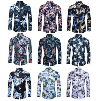Social Shirt Men's Long sleeve Hawaiian Shirt for Men Blouse Fashion Flower Casual Turn-down collar New Plus size turn down collar covered button spliced design long sleeve shirt for men