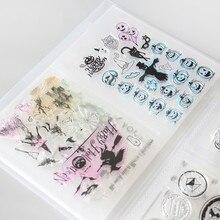 Klar Briefmarken & Sterben Stecklinge Lagerung Box Tasche Album Hält 80 stücke Klar Briefmarken 17,8x12,7 cm 2 pro seite Klar briefmarken organisation
