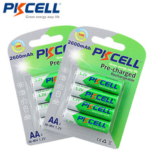 2Pack/8Pcs PKCELL AA Ni-MH Pre-charged Batteries 2600mAh 1.2V Low Self