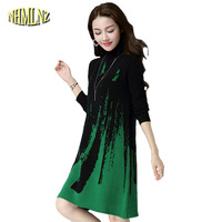 Autumn Winter Pullovers Patchwork Women Sweaters Dress Medium Long High Quality Loose Women Knit Sweaters LH84