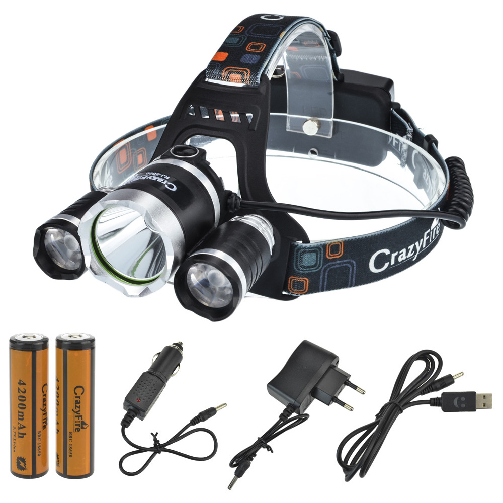 6000lm Cree XM-L L2 Rechargeable LED Head Torch Light Headlight Zoomable HeadLamp + 2* 18650 Rechargeable Battery + Car Charger