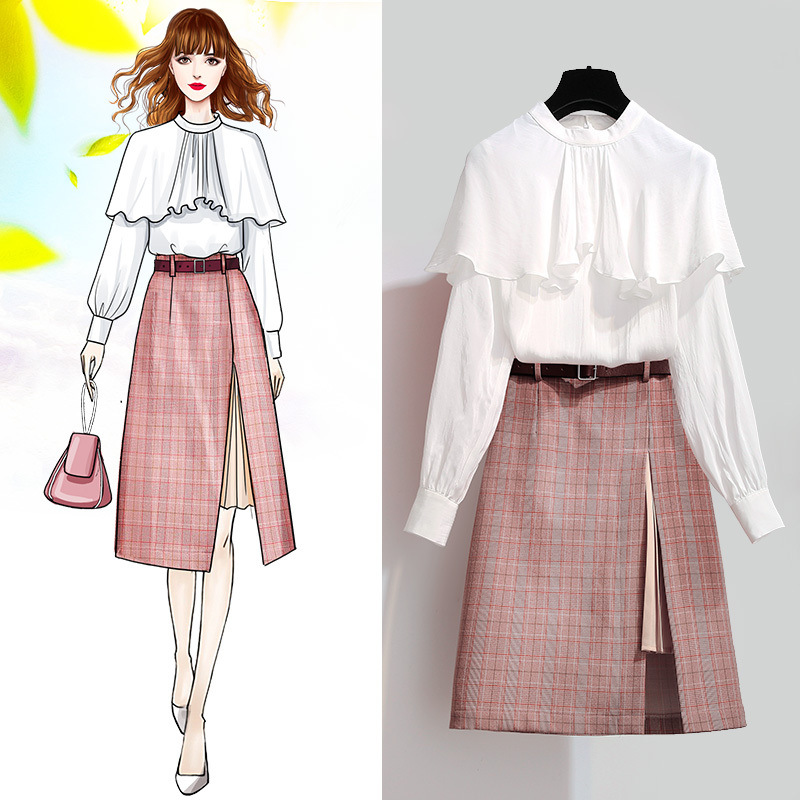 ICHOIX 2 Piece skirt set white shirt long sleeve pcs clothing a-line plaid suits elegant piece women office Wear