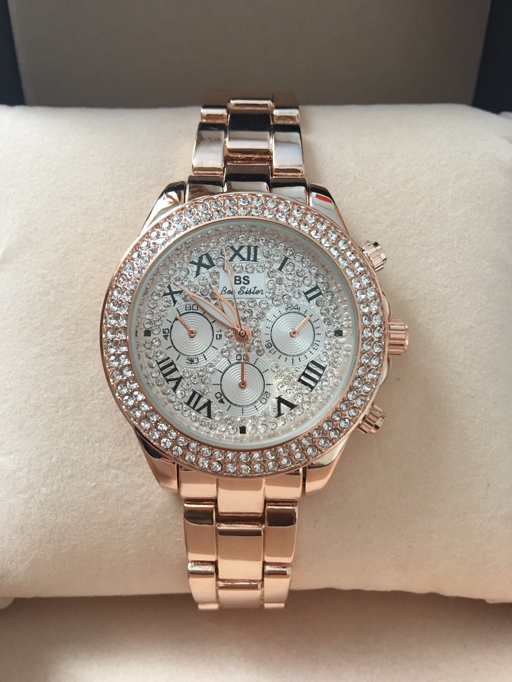2017 Nye High Quality Luksus Crystal Diamond ure Kvinder Gold Watch - Dameure - Foto 4