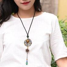 Трендовое этническое бронзовое круглое ожерелье с кулоном для женщин Длинная веревочная цепочка Цветная глазурь из бисера Сердолик капля винтажное модное ювелирное изделие