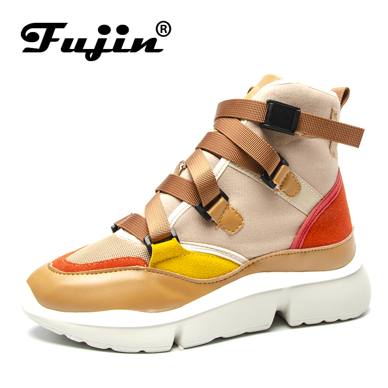 Fujin Casual Chaussures Femmes Printemps Automne Sneakers Boucle Strap High Low Top Dame de Mode Sneakers Plate-Forme Chaussures Chaussures