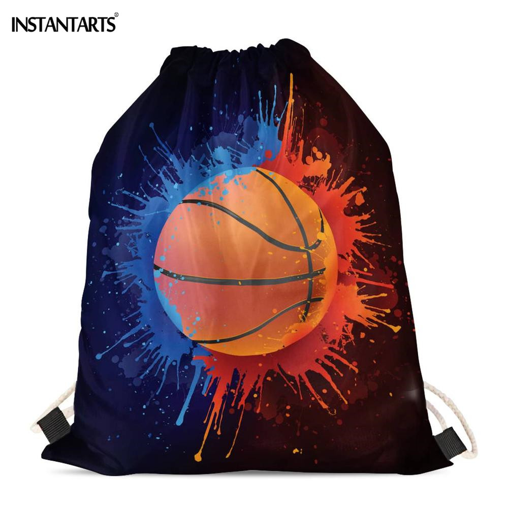 INSTANTARTS Ball In Paint Isolated Printing Drawstring Bags For Boy Gym Fitness Backpack Lightweight Sports Bags Casual Backpack