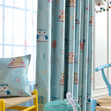 (1piece) Readymade physical blackout curtains, #LR-maotouying finished cartoon owl soft drapes cortinas for children bedroom