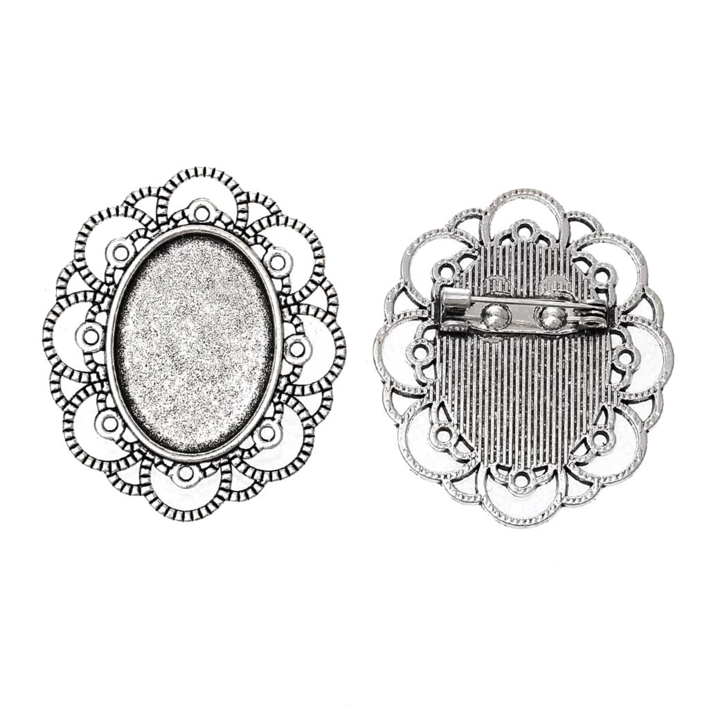 Zinc Metal Alloy Brooches Findings Oval Antique Silver Cabochon Settings(Fits 25mm X 18mm)4cm X 3.4cm ,1 Piece