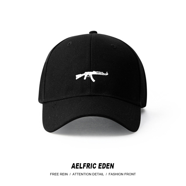 f6267646357 Aelfric Eden Summer Hats for Men 2018 New Fashion Hip Hop Caps Snapback 3d  Gun Embroidery Black Hats High Street Swag Cap SNL04