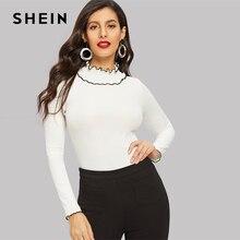316985728586 SHEIN White Lettuce Trim Neckline Rib-knit Tee T-shirt Women Summer Elegant  Solid