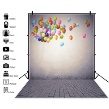 Laeacco Photography Backgrounds Balloons Gradient Solid Color Wall Brick Floor Photographic Photocall Photo Studio