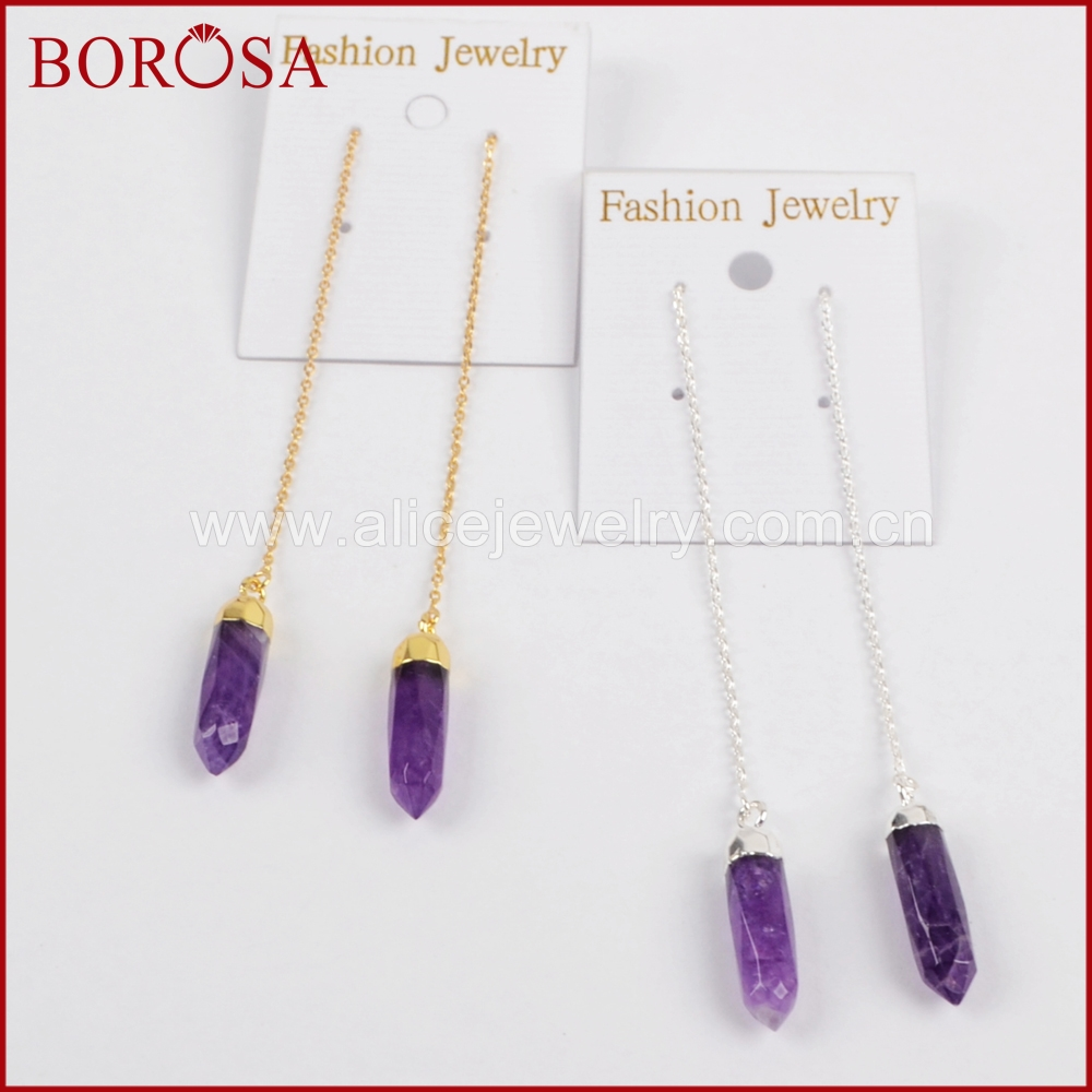 Borosa 100% Natural Purple Crystal Faceted Point Gold Color Threader  Earrings, Wholesale Crystal Dangle