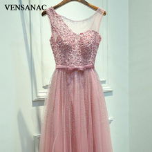 VENSANAC 2018 Crystal O Neck Bow Sash Pearls A Line Long Evening Dresses Party Lace Embroidery Backless Prom Gowns