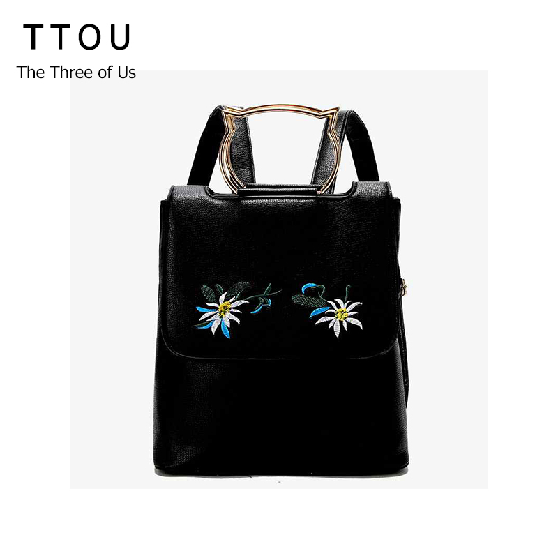 TTOU Female PU Leather Backpack Women Flower Embroidery Backpacks for Teenage Girls Small Metal Cat Handle School Bags Fashion 2016 fashion women waterproof pu leather rivet backpack women s backpacks for teenage girls ladies bags with zippers black bags