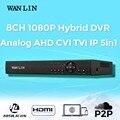 WAN LIN 8 Canal 1080 P CCTV DVR 8CH DVR Registro AHD-H 3in1 híbrido DVR De 1080 P AHD Cámara IP de Vigilancia de Vídeo grabadora