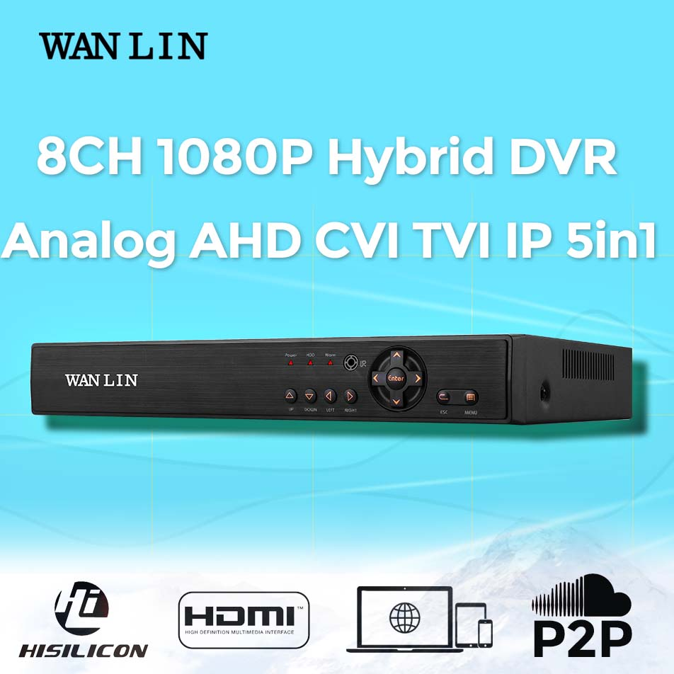 ФОТО WAN LIN  8Channel 1080P CCTV DVR AHD-H DVR Register 8CH Hybrid 5in1 DVR For 1080P AHD IP Camera Surveillance Video Recorder