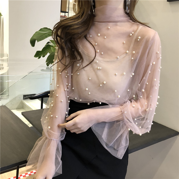 Lady Transparent Mesh Beading Bow-neck   Blouses     Shirts   Tees Girls Flare Sleeve Sweet Chic   Blouses   Tops For Women