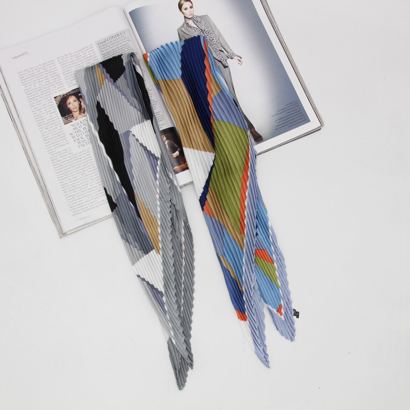 New geometric printing pleated fashion women scarf handkerchief shawls wrinkle scarves kerchief  new Foulard Bandana LL190410