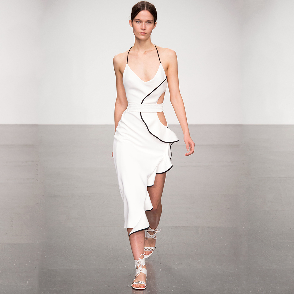 White Sexy Deep V Neck Halter Dress 2018 New Summer Side Split Ruffles Mid Calf Party