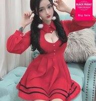 Spring Korean Sexy Pleated Red Dress 2018 Women Sweet Cute Hollow Heart Slim Ladies Party Dresses Kawaii Mini Shirt Dress wj2114
