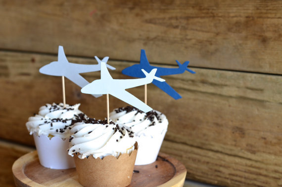 Cheap Airplane Cupcake Toppers Food Picks Birthday Wedding Party Cake Topper