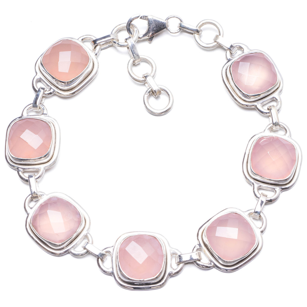 Natural Chalcedony Handmade Unique 925 Sterling Silver Bracelet 7 1/4-8 Y2009 цена