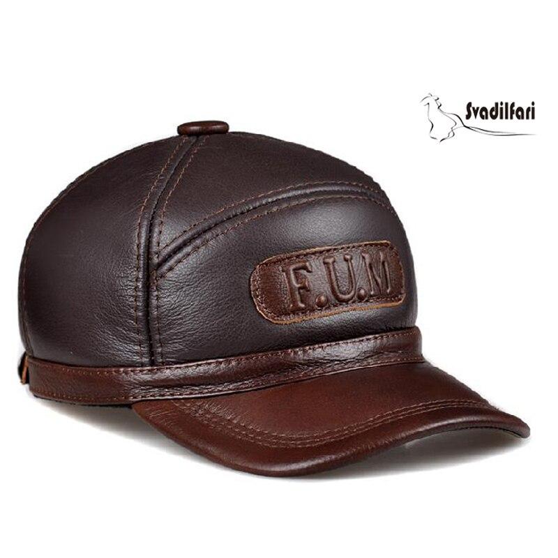 Svadilfari Hot Seller hiver 2018 peau de vache Baseball personnes âgées casquette cadeau pour papa maman en cuir véritable oreille homme femme chaud chapeau décontracté - 3