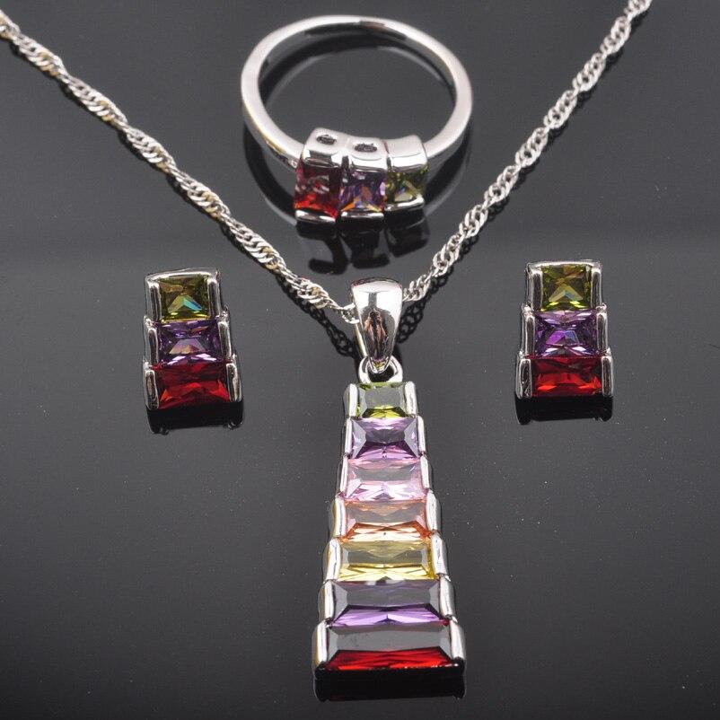 Fahoyo Mode Multicolor Zirkonia Frauen 925 Sterling Silber Schmuck Sets Ohrringe/anhänger/halskette/ringe Qz0566 Brautschmuck Sets