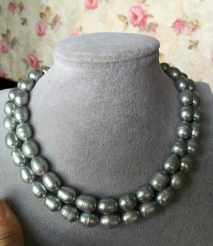 single strand 12-14mm BAROQUE freshwater GREY PEARL NECKLACE 38inch 14k goldsingle strand 12-14mm BAROQUE freshwater GREY PEARL NECKLACE 38inch 14k gold