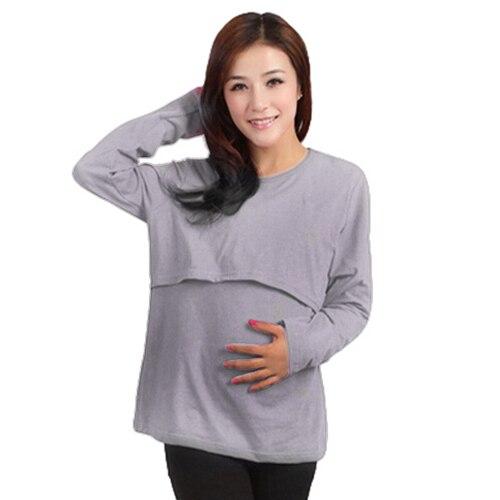 54832f3a6 Vestido de pijamas camisón de manga larga de maternidad superior de enfermería  lactancia alimentación ropa Vestidos