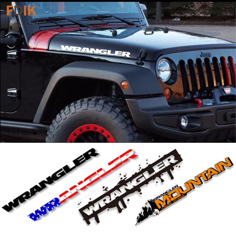 2pcs Sport Engine Hood Fender Side Letter Character Stickers Decal Vinyl for Jeep Wrangler Unlimited TJ JK CJ TJ YK JL XJ