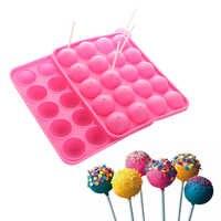 1 pieza 20 agujeros Bola de Chocolate galleta Cupcake Candy Maker DIY herramienta de hornear de silicona Pop molde para paletas palo bandeja molde pastel