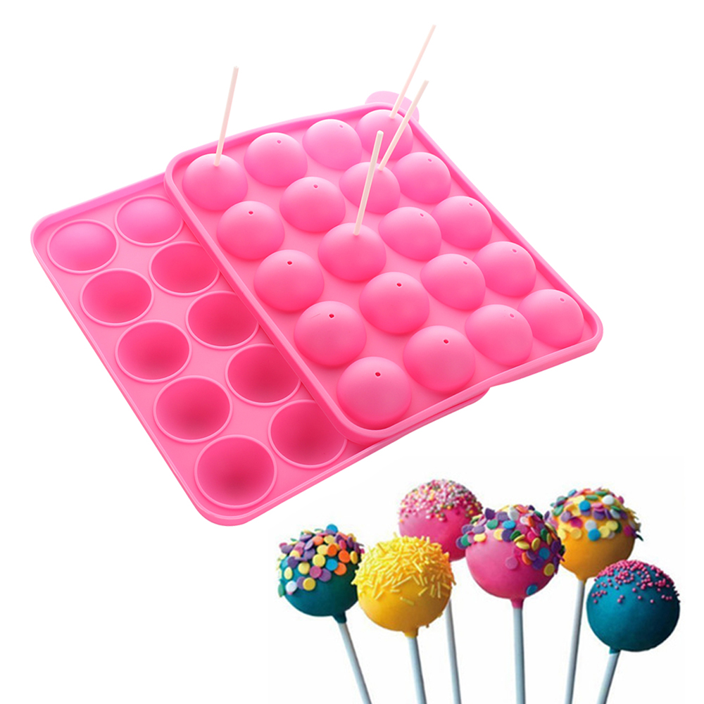 1PC 20 Holes Chocolate Ball Cupcake Cookie Candy Maker DIY Baking Tool Silicone Pop Lollipop Mold Stick Tray Cake Mould